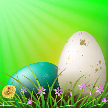 Easter green composition with a white and turquoise egg with a pattern, grass and flowers Illustration
