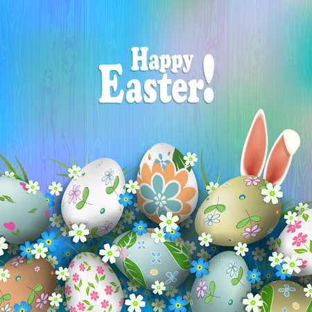 Easter composition of a light rainbow shade with magnificent eggs, flowers, grass and rabbit ears.