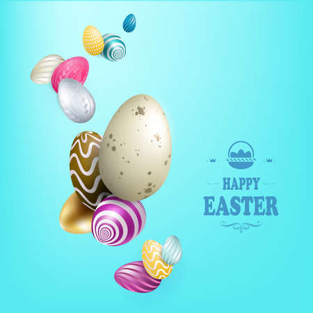 Light blue Easter composition with a set of eggs of various colors