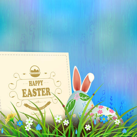 Easter composition in a light blue hue with a square frame, eggs and rabbit ears, spring flowers and grass