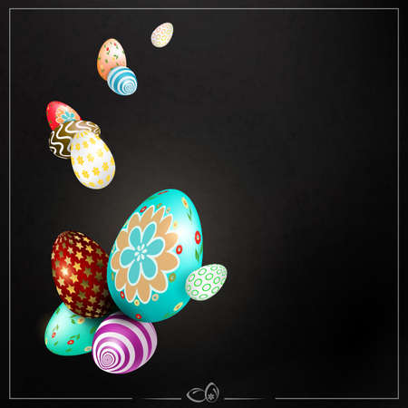 Black Easter composition with wonderful eggs with a different pattern.