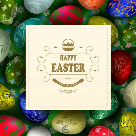 Beautiful composition of green tint with a set of Easter eggs and a light square frame with a basket and text.