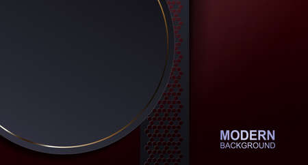 Dark red texture design with a round frame with a gold border.
