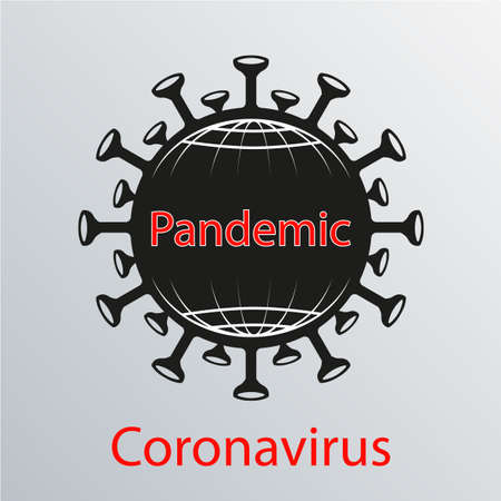 Black coronavirus icon with white outline of a globe grid. Asian flu emblem. Design element Иллюстрация