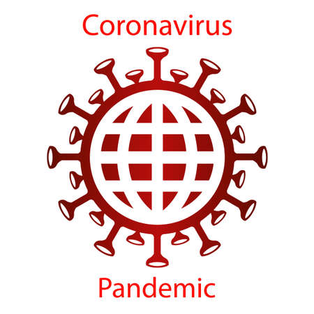 Red coronavirus icon with a globe silhouette. Asian flu emblem. Design element