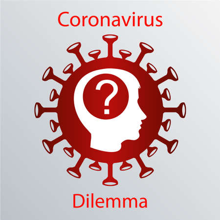 Red coronavirus icon with a human head silhouette and a question mark. Asian flu emblem. Design element