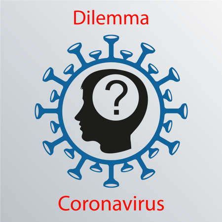 Blue coronavirus icon with a human head silhouette and a question mark. Asian flu emblem. Design element
