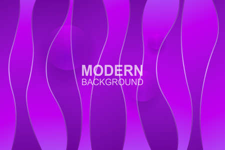 Violet background with flowing wavy vertical shapes with gradient, abstract transparent circles. Иллюстрация