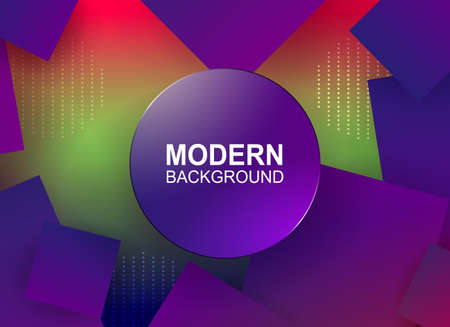 Geometric colorful background, color gradient, blue squares, round frame with a brilliant border.