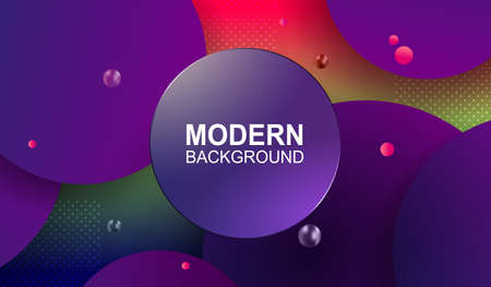Lovely background with color gradient, rounded shapes, round frame with gradient and glitter