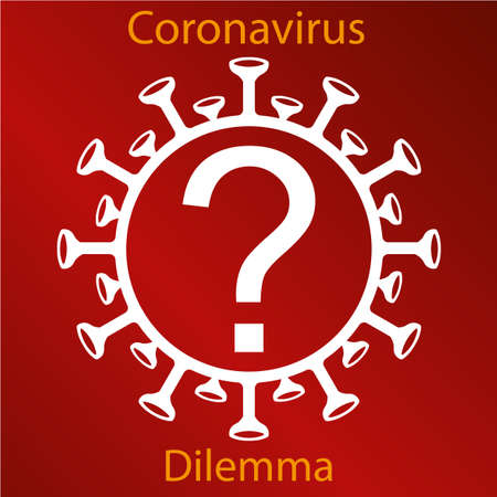 White coronavirus sign with a question mark. Emblem of Asian flu. Design element