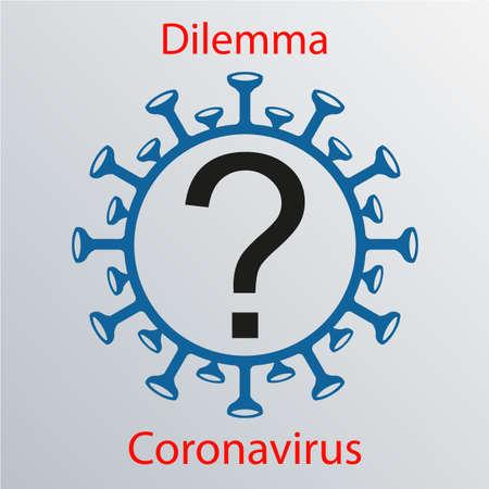 Coronavirus sign with a question mark. Emblem of Asian flu. Design element Vecteurs