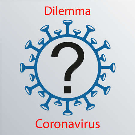 Coronavirus sign with a question mark. Emblem of Asian flu. Design element