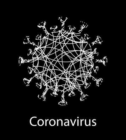 Black composition with white textured coronavirus sign. Emblem of Asian flu. Design element Иллюстрация