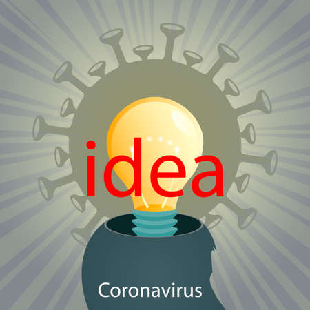 Silhouette of a human head, coronavirus, light bulb and rays of light. Composition of Asian flu