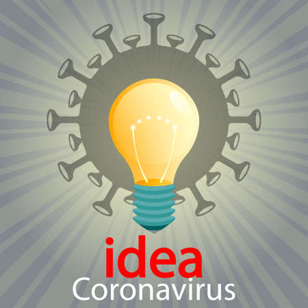 Silhouette of coronavirus, light bulb and rays of light. Composition of Asian flu