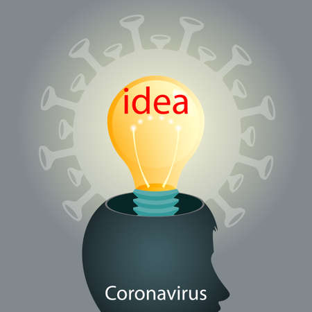 Silhouette of a human head, coronavirus and light bulb. Composition of Asian flu