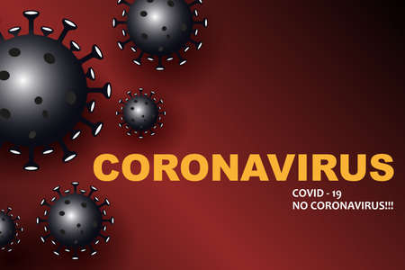 Design with dark silhouettes of elements of coronavirus, prevention of viral infections. Composition of Asian flu