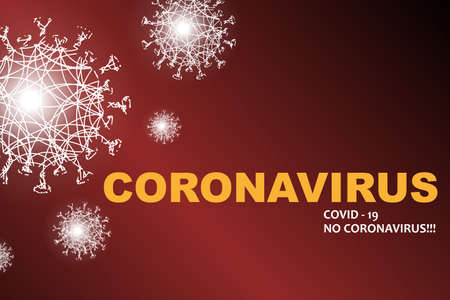 Red design with light silhouettes of elements of coronavirus, prevention of viral infections. Composition of Asian flu