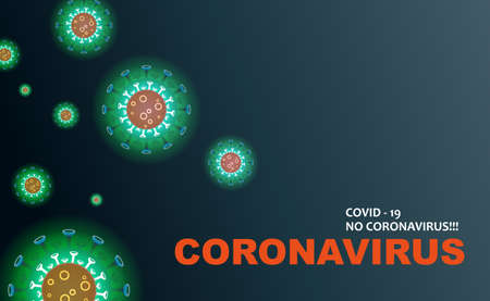 Dark design with green silhouettes of elements of coronavirus, prevention of viral infections. Composition of Asian flu