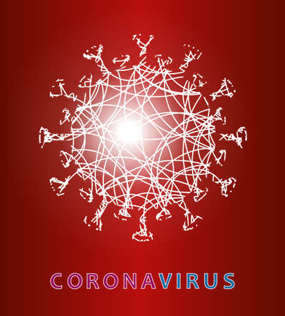 Light silhouette of an element of coronavirus, the prevention of viral infections. Composition of Asian flu