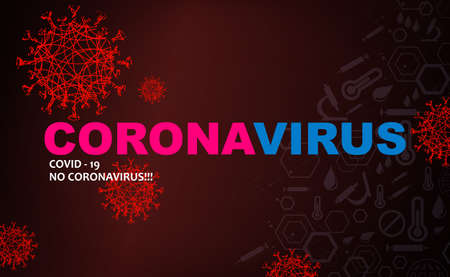 Design with red silhouettes of elements of coronavirus, prevention of viral infections.