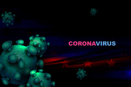 Dark design with silhouettes of the flag of America and elements of the coronavirus. Prevention of viral infections.