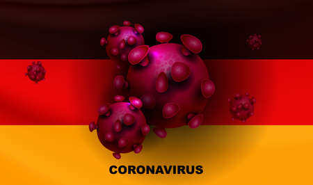 Design with a silhouette of the flag of Germany and elements of a coronavirus. Prevention of viral infections. Иллюстрация