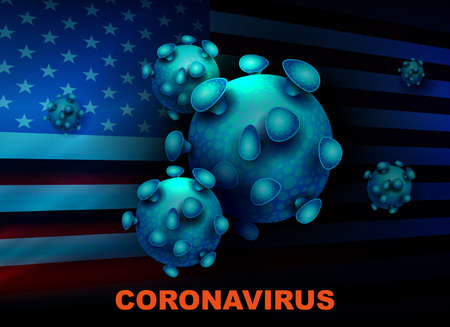 Dark blue design with abstract silhouette of the USA flag and elements of coronavirus. Prevention of viral infections.