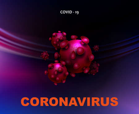 Dark blue design with abstract silhouette of coronavirus elements. Prevention of viral infections.