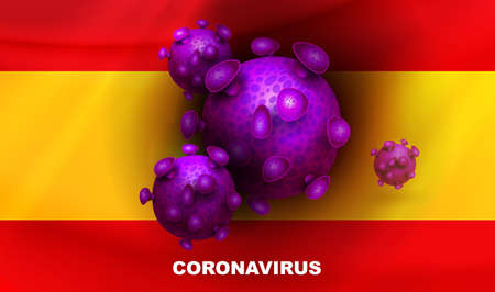 Design with Spain flag silhouette and abstract coronavirus elements. Symptom of coronavirus COVID-2019. Composition of Asian flu.