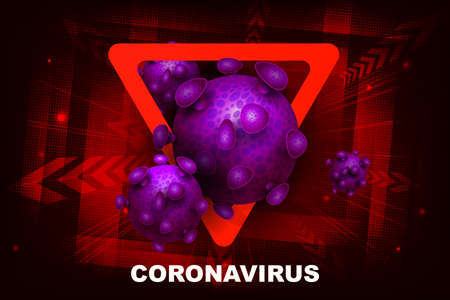 Red design with abstract silhouette of coronavirus elements. Prohibition sign. Symptom of coronavirus COVID-2019. Иллюстрация