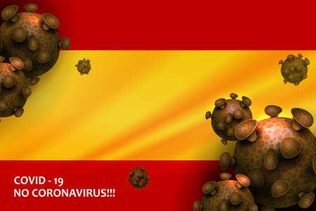 Design with the silhouette of the flag of Spain. Sign of coronavirus COVID-2019. Asian flu composition.