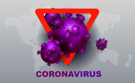 Composition with abstract silhouette of coronavirus elements, warning red sign and continents. Sign of coronavirus COVID-2019. Asian flu composition. Prevention of viral infections. Иллюстрация