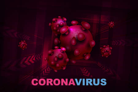 Composition with abstract silhouette of coronavirus elements. Sign of coronavirus COVID-2019. Asian flu composition. Prevention of viral infections. Иллюстрация