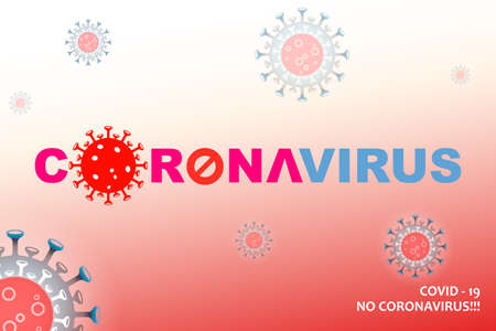 Composition with abstract silhouette of coronavirus elements. Asian flu composition. Prevention of viral infections.