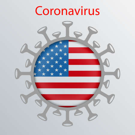 Round sign with the silhouette of the flag of America, an infected country and the abstract silhouette of the element of a coronavirus.  Prevention of viral infections. 向量圖像