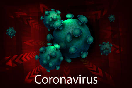 Red design with an abstract silhouette of elements of a green hue coronavirus. Sign of a coronavirus COVID-2019. 向量圖像