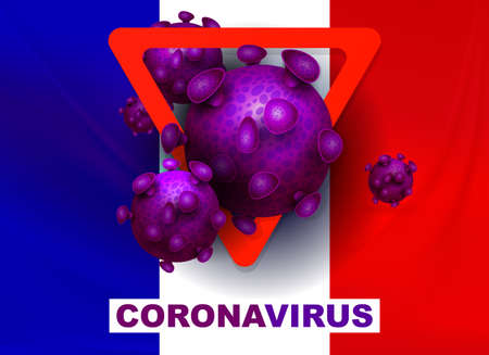 Flag of France with prohibiting red sign, abstract silhouette of coronavirus elements. Sign of coronavirus COVID-2019.