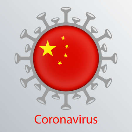 Round sign with the silhouette of the flag of China, an infected country and the abstract silhouette of the element of a coronavirus. Sign of the coronavirus COVID-2019.