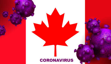 Design with the silhouette of the flag of Canada and the abstract silhouette of the element of the coronavirus.