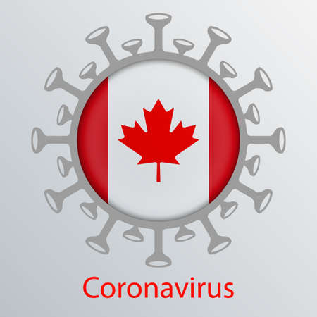 Round sign with the silhouette of the flag of Canada, an infected country and the abstract silhouette of the element of coronavirus. Asian flu symbol. Prevention of viral infections.