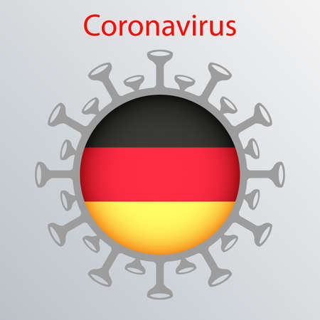 Round sign with the silhouette of the flag of Germany, an infected country and the abstract silhouette of the element of coronavirus. Sign of the coronavirus COVID-2019.