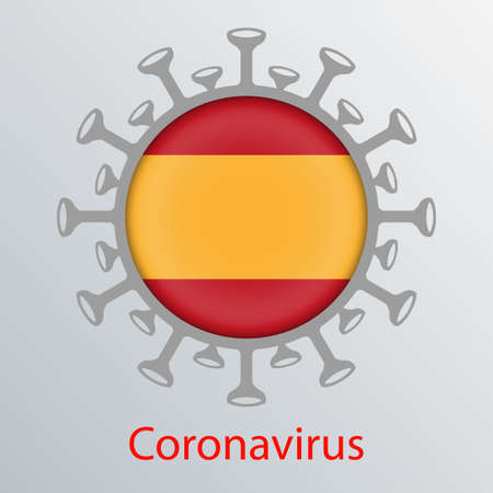 Round sign with the silhouette of the flag of Spain, an infected country and the abstract silhouette of an element of coronavirus. Sign of the coronavirus COVID-2019.