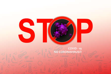 Design with stop text and abstract silhouette of a coronavirus element. Sign of coronavirus COVID-2019. Asian flu symbol.
