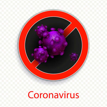 Composition with a round red sign and abstract silhouette of a coronavirus element. Sign of a coronavirus COVID-2019. Design element. Asian flu symbol. Prevention of viral infections.