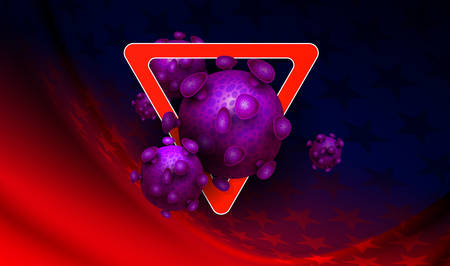 Red and blue design with stars with prohibiting red sign, abstract silhouette of coronavirus elements. Sign of coronavirus COVID-2019. 向量圖像