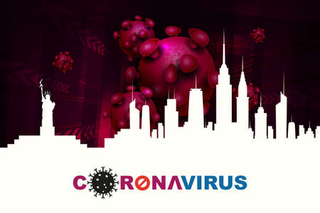 Design with a silhouette of houses and an abstract silhouette of elements of a coronavirus. Sign of a coronavirus COVID-2019. Prevention of viral infections. 向量圖像