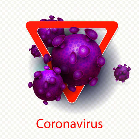 Composition with a triangular red sign and the abstract silhouette of a coronavirus element. Sign of the coronavirus COVID-2019. Design element. 向量圖像