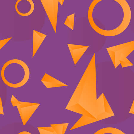 Seamless purple background, silhouettes of triangles and rings of orange color